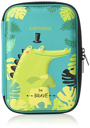 GOMDA Pencil Case-Deluxe Large Capacity Hardtop Pencil Box- with Compartments and Zipper- (Green)