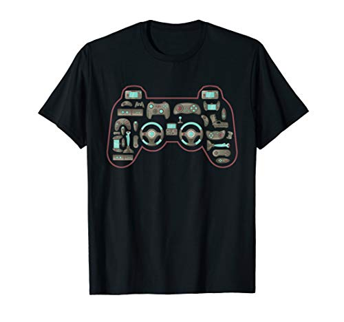 Vintage Gaming Controller Shape Gamepad Video Gaming Icons T-Shirt