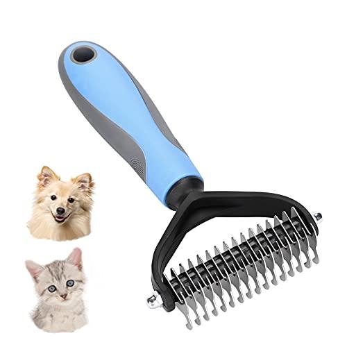 WALBISON Hundebürste Langhaar und Kurzhaar,Unterwollkamm Hundehaare und Katzenhaare Entfernen, Entfern Unterwolle und Verfilzungen,Hundekamm Katzenkamm mit Massageeffekt und Haarschutz