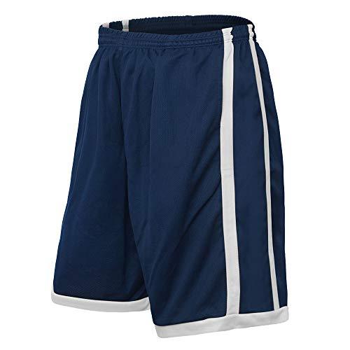 TOPTIE Laufhose Herren Trainingsshorts Basketball Shorts mit Taschen DunkelBlau Gray S