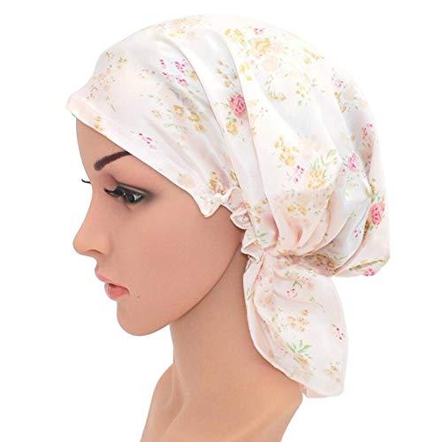 WJH Chapeau de Sommeil Naturel Soie Femmes Sleeping Cap Bonnet Head Couverture pour Beauty Hair avec Bande élastique pour Le Sommeil, Perte de Cheveux, la Protection des Cheveux (1 Paire),Rose