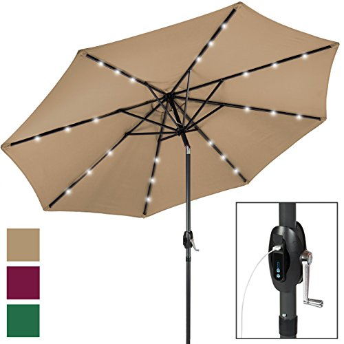 Best Choice Products 10-Foot Aluminum Polyester Solar LED Market Patio Umbrella w/USB Charger and Detachable Portable Power Bank, Tan