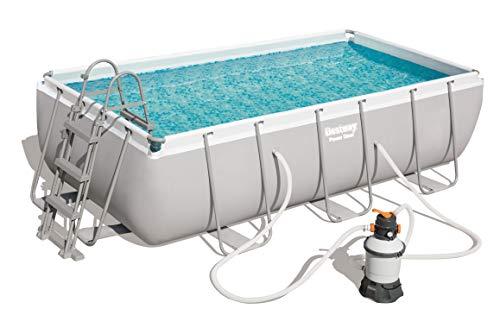 Bestway Power Steel Rectangular Pool 404 x201 x100 cm, Stahlrahmenpool-Set mit Sandfilteranlage 404 x 201 x 100 cm Piscina de Acero con Filtro de Arena, Color Gris, (56442)