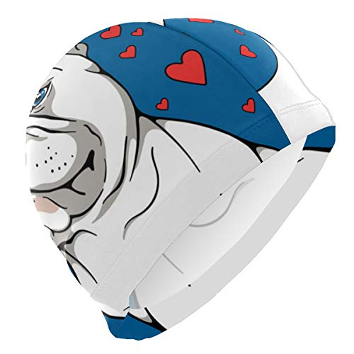 Unisex Swim Caps Cover Ears Cartoon French Bulldog Swim Hat,Pool Exercise Equipment for Adults Durable & Flexible ,Silicone Swimming Caps for Long Hair & Short Hair