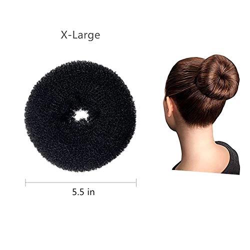 DILISEN 1 Pcs Extra Large Size Hair Bun Donut Maker, Ring Style Bun, Women Chignon Donut Buns Donut Shaper Hair Bun Maker (for Thick and Long Hair) 5.5 in, (X-Black) (XBlack)