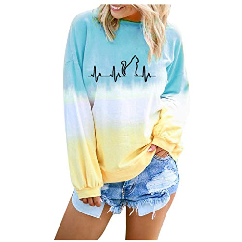 Dorical Sweatshirt Casual Langram Farbverlauf Farbblock Rundhals Pullover Tops Oberteile Tops Tunika Casual Mode Herbst Winter Langarmshirt(Z06-Himmelblau,Small)