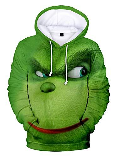 QYIFIRST Sudadera unisex con estampado 3D de anime, con capucha, para Navidad, cosplay, disfraz para hombre y mujer, color verde A 4XL (pecho 122 cm)