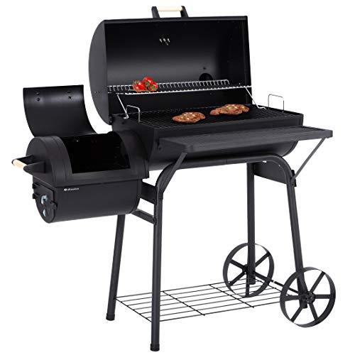 Ultranatura Smoker Grill Denver mit Side-Fire-Box, Deckel- Thermometer,massive Ausführung, Barbecue Grillwagen zum Grillen und Smoken, direkt und indirekt Hitze, BBQ, Holzkohle, 119 x 66 x 135 cm