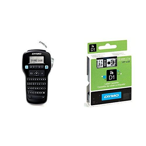 Dymo LabelManager 160 Tragbares Beschriftungsgerät + Dymo S0720500 D1-Etiketten (Selbstklebend, für den Drucker LabelManager, 12 mm x 7 m Rolle) schwarz auf transparent