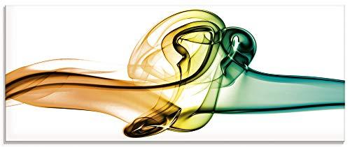 Artland Glasbilder Wandbild Glas Bild einteilig 125x50 cm Querformat Abstrakte Kunst Rauch Wellen Farben Bunt S6OV