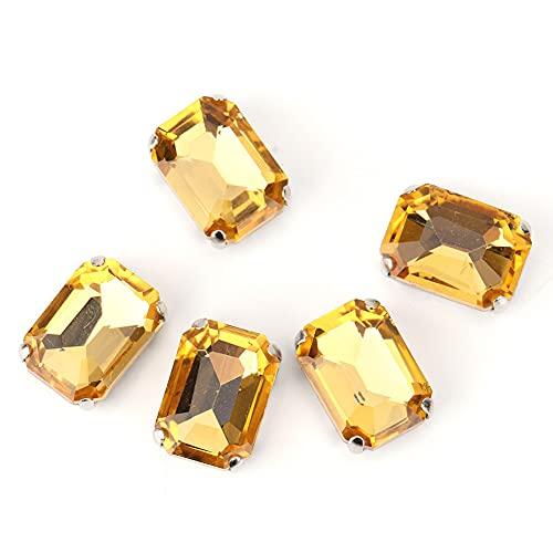 10 piezas de diamantes de imitación rectangulares coser en garra cristales de cristal de diamantes de imitación para manualidades diamantes de imitación de cristal accesorios de ropa DIY(amarillo)