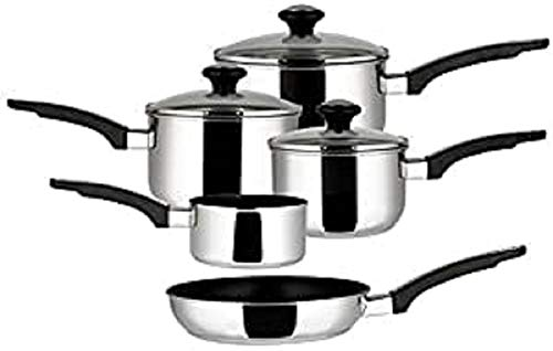 Prestige Everyday Milkpan, Saucepan and Frypan Set of 5 - 5 year guarantee - Non Stick pots and pans with Glass lids - Stainless Steel cookware