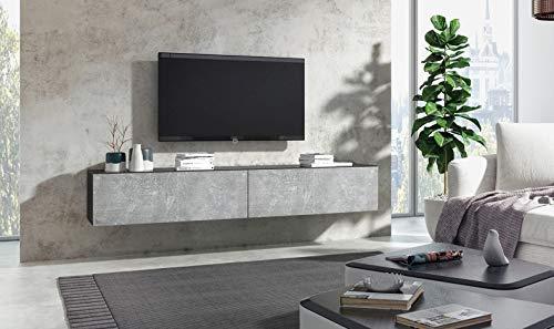 Wuun® 180cm/Beton-Optik (Korpus Matt Weiß)/8 Größen/5 Farben/TV Lowboard TV Board hängend Hängeschrank Wohnwand/Somero