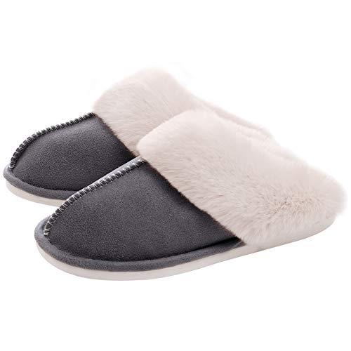 WATMAID Women's House Slippers Memory Foam Fluffy Soft Slippers, Slip on Winter Warm Shoes for Women, Dark Grey, 9.5-10.5 B(M) US