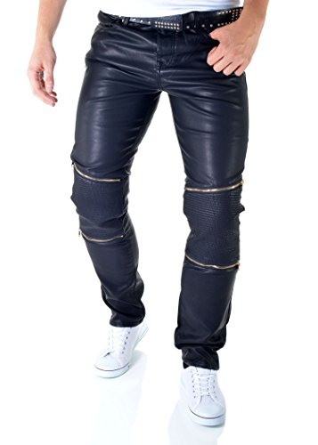 D&R Fashion PU-Lederhose Schwarze Röhrenjeans Herren Motorradhose Bikerhosen Reißverschlüsse