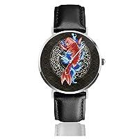 腕時計 和風 鯉 波 ベルトウォッチ Leather Watch クォーツ時計 ビジネスウォッチ ウオッチファッション ビジネス時計 ブラックレザーベルトメンズ 時計 うで時計 革ベルト 防水