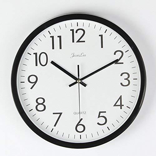 Greneric Reloj de pared sin ruido de tictac, moderno, silencioso, esfera grande, reloj de cocina con 25 cm de diámetro, 10 pulgadas, color negro