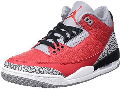Nike Air Jordan 3 Retro U, Zapatillas de básquetbol para Hombre, Equipo Universitario Rojo/Equipo Universitario Rojo-Cemento Gris, 40.5 EU
