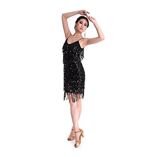 SymbolLife Fransenkleid mit Pailletten Damen sexy Tanzkleidung Hochzeitkleid Tanzkleid Partykleid Mini Charleston Kleider Kleid Darbietungen Tanzkostüme für Karneval, Schwarz