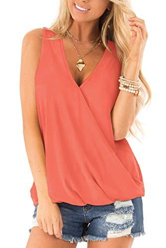 NSQTBA Womens Summer Tank Tops Cute Solid Color Deep V Neck Loose Shirts Coral M