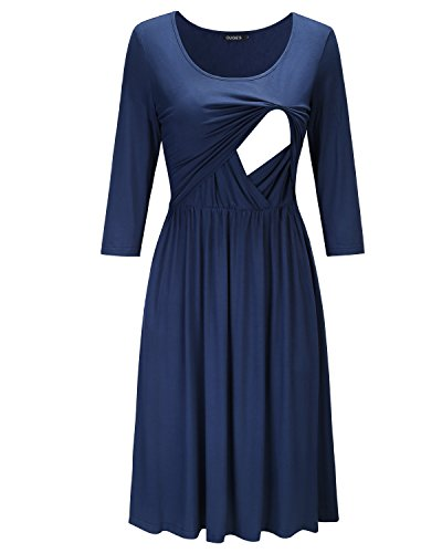 OUGES Womens 3/4 Sleeve Solid Maternity Dresses Nursing Gown Breastfeeding Clothes(Navy,M)