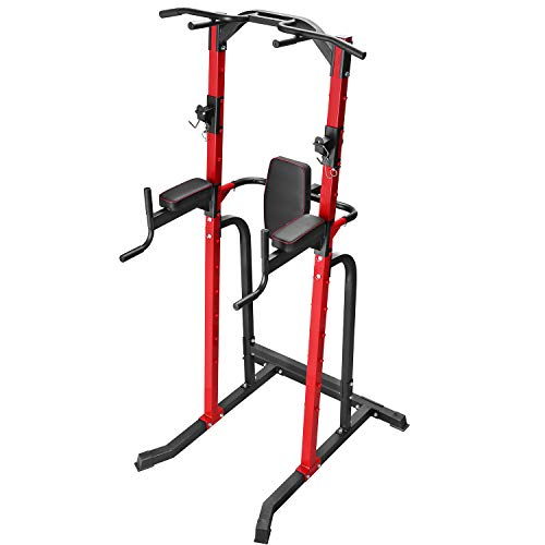 ZENOVA Power Tower Heavy Duty Gym Power Multi-Function Home Strength Training Tower Dip Stand Pull...