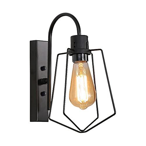 Lámpara de Pared Vintage para Interior,iluminación de pared de jaula de metal,Aplique Pared Industrial,Base E27 Utilizado en dormitorios, restaurantes, pasillos, bares, cafés y otras escenas.