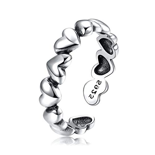 Anillo de plata de ley con diseño de corazón apilable ajustable para mujeres, adolescentes, niñas, cumpleaños, aniversario, tamaño de regalo J-R