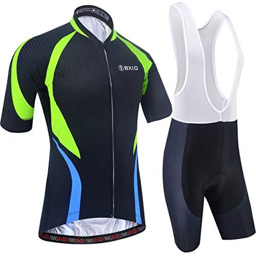 BXIO Ropa de Ciclismo para Hombres Mangas Cortas Jerseys de Bicicleta Pantalones Cortos Transpirables de Gel 5D 201 (Black(201,Bib Shorts), S)