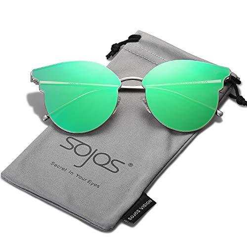 SOJOS Occhiali da Sole 2018 Donna Rotondi Retro Vintage Grandi Occhi di Gatto Montatura in Metallo SJ1055 Argento/Verde Specchio con Scatola