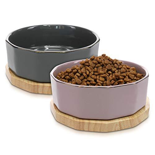Navaris 2X Ciotole 800ml - per Cane Gatto Animali Domestici - Ciotoline Rialzate in Ceramica con Supporti Legno - Scodella Rialzata Grigio & Viola