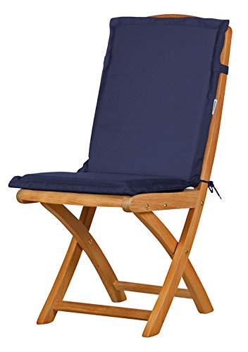 Auflage für Gartenstuhl mit Rücken, blau, dralon, waschbar ✓ Made in Germany ✓