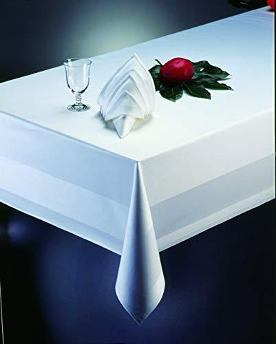 Gastro Uzal Tischdecken, Damast Tischdecke mit Atlaskante weiß - 130 x 280 cm - bei 95°C waschbar, Gastro Tischdecke weiße Tischtücher