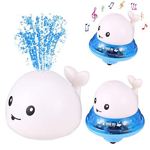 Popuppe Juguete de baño para bebé, juguete de agua, con spray para inducción, juguete flotante con luz y música, 2 en 1, juguete de baño para niños pequeños (blanco)