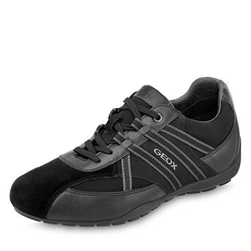 Geox Herren Low-Top Sneaker RAVEX, Männer Sneaker,Halbschuh,Sportschuh,Schnürschuh,atmungsaktiv,SCHWARZ,44 EU / 10 UK