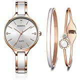 MAMONA Women's Watch Quartz Gift Set Crystal Accented Ceramic and Stainless Steel L3877GT Watches Set (Rose Gold)