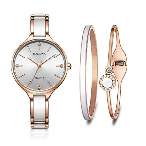 MAMONA Damen Uhr Set Analog Quarz mit Edelstahl und Keramik Armband L3877GT (Rose Gold)