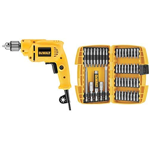 Dewalt DWE1014 3/8-Inch 0-2800 RPM VS Drill with Keyed Chuck with DEWALT DW2166 45 Piece Screwdriving Set with Tough Case