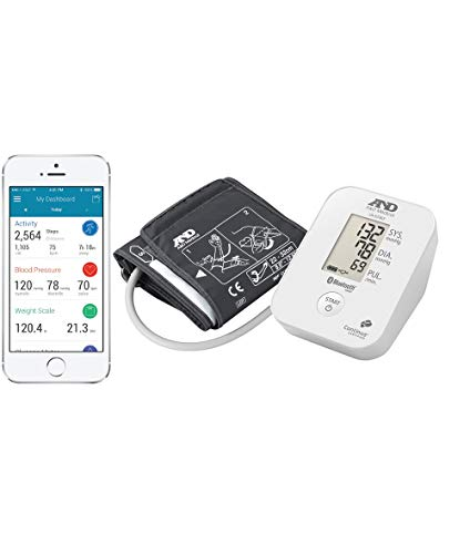 A&D Medical-651BLE Tensiómetro de Brazo, color blanco, Bluetooth, aplicación A&D Connect para móviles