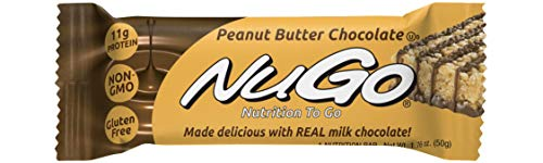 NuGo Protein Bar Peanut Butter Chocolate 11g Protein 170 Calories Gluten Free 15 Count