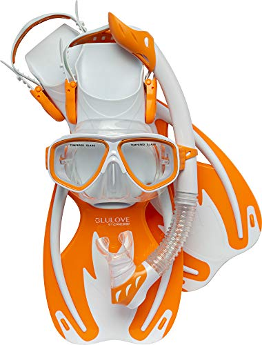 Cressi Junior Snorkeling Set for Young Aged 8 to 16 - Mask + Snorkel + Fins + Net Bag | Lightweight Colorful Equipment | Rocks Kids Set