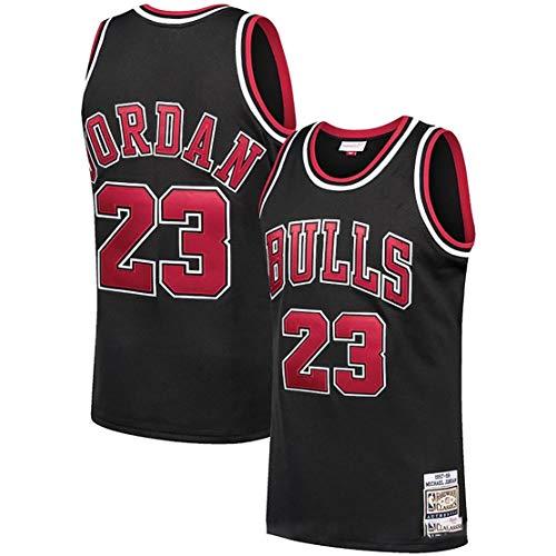 LZZQMR Chaleco De Baloncesto para Hombres para Toros # 23 Jordán Jersey, Chicago Camiseta De Baloncesto De Bordado Sin Mangas Retro, Ventiladores De Baloncesto Uniforme Sup Black-S