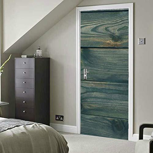 RAUP Moderne Kunst 3D Tür Aufkleber, Herbst Blätter Kürbis über Alten Holzschale und Stick abnehmbare Vinyl Tür Aufkleber für Wohnkultur, 30,3