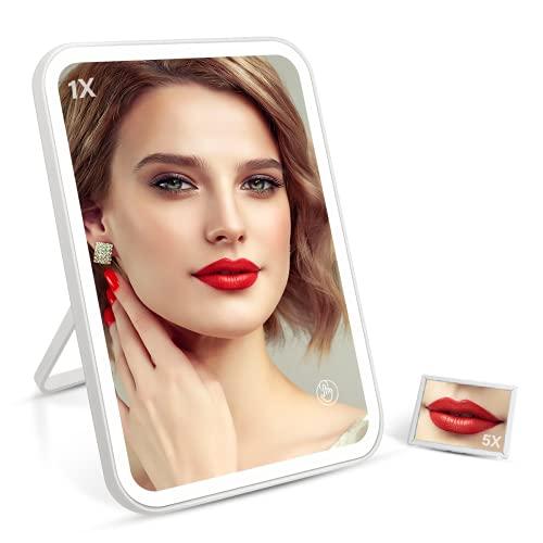 Kosmetikspiegel mit LED Licht, MINKUROW 5X Vergrößerungs-Kosmetikspiegel mit Beleuchtung, 3-Farben-Beleuchtung, Dimmbarer Touch-Schalter
