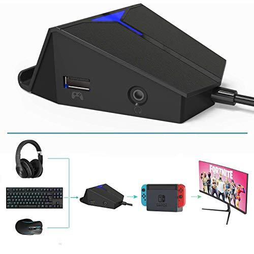 Darkwalker FO214 Adaptador para Teclado y Ratón de Juegos FPS, Compatible con PS4 / Xbox One/Nintendo Switch Soporte de Chat de Voz