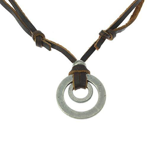 benerini Collar de Cuero Surfista con Colgante de Metal Redondo Doble - Totalmente Ajustable - Cordón de Cuero marrón
