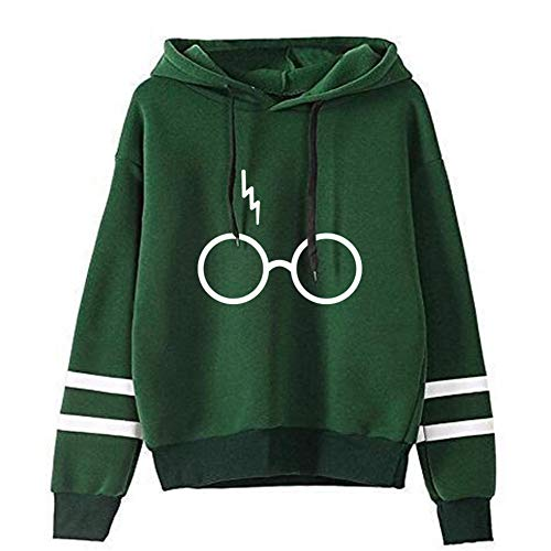 GAOLONG Verdicken Plus Samt Pullover Sweatshirt, Harry Potter Brille druckt Langarm Hoodie Shirt Mantel Herbst Mode Sweatshirt für Frauen und Männer,Grün,4XL