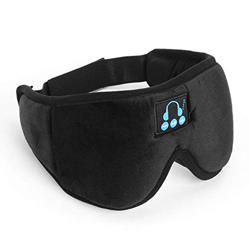 Bluetooth oogmasker, Bluetooth 5.0 draadloze stereo headset 3D slaapmasker hoofdband slaap zacht stereo headset slaap oogmasker muziekschakelaar headset