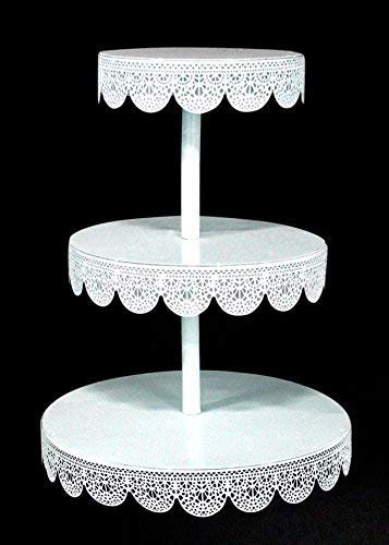 Unique 5pcs White Metal Eyelet Cake or Treat stands. Party decorations for all occasions.