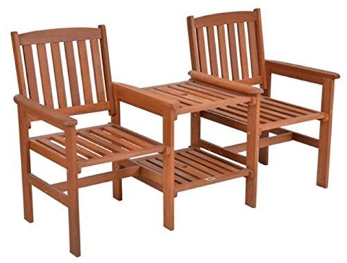 LD Tee-Bench tuinbank met tafel 2-zits tuinbank hout zitbank bank parkeerbank